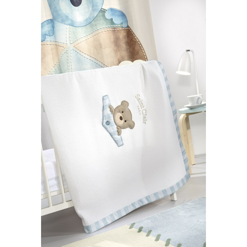 ΚΟΥΒΕΡΤΑ  SAINT CLAIR BEBE  TEDDY SKY ΠΙΚΕ 110X150