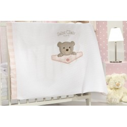 ΚΟΥΒΕΡΤΑ  SAINT CLAIR BEBE  TEDDY ROSE ΠΙΚΕ 110X150