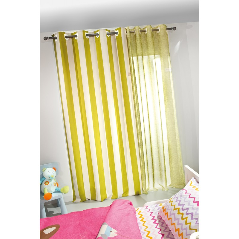 ΚΟΥΡΤΙΝΑ SAINT CLAIR SOFT-TOUCH LIME STRIPES 140X250 100% POLYESTER